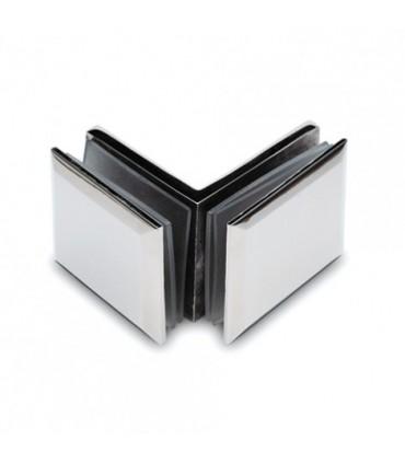Fixation verre / verre 90° inox brillant