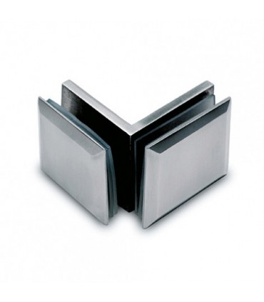 Fixation verre / verre 90° inox brossé