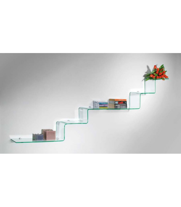 Tag re murale en verre tremp 8 mm s rie step par bolis for Etagere verre