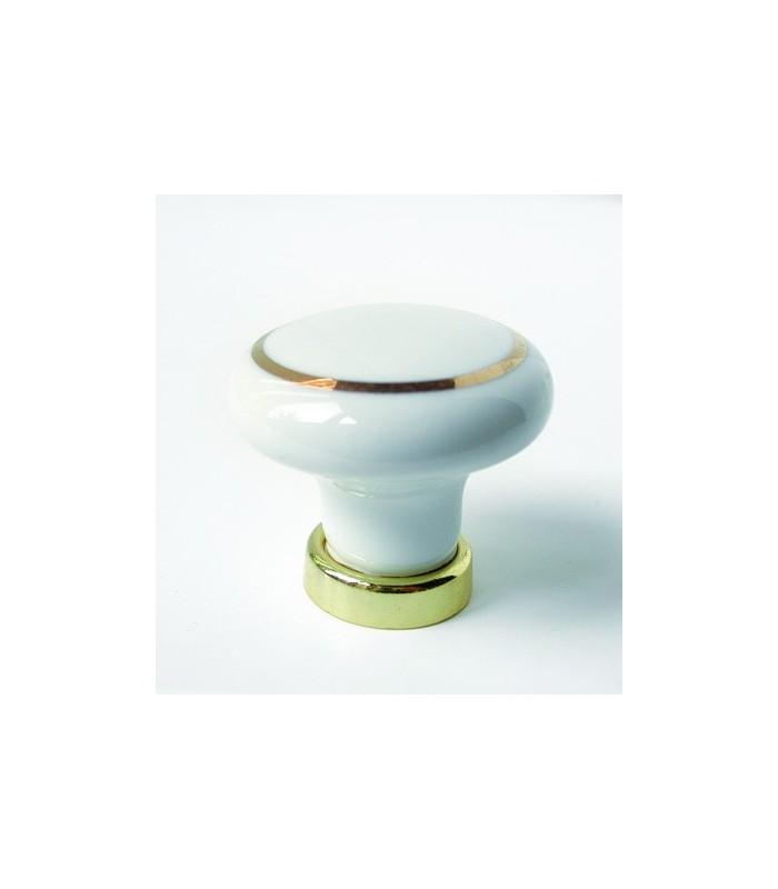 Poignée bouton porcelaine anneau or