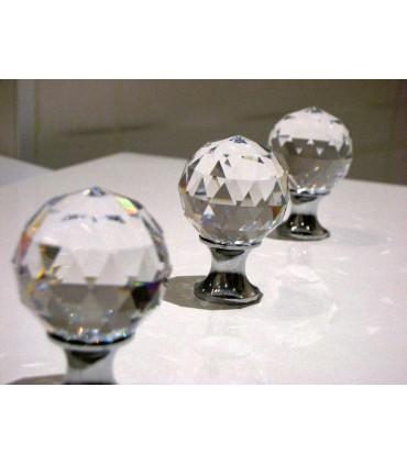 Poignée bouton boule crystal chromé brillant