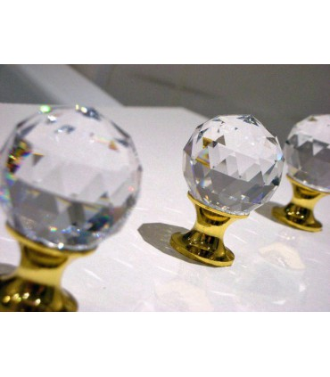 Poignée bouton boule crystal poli brillant