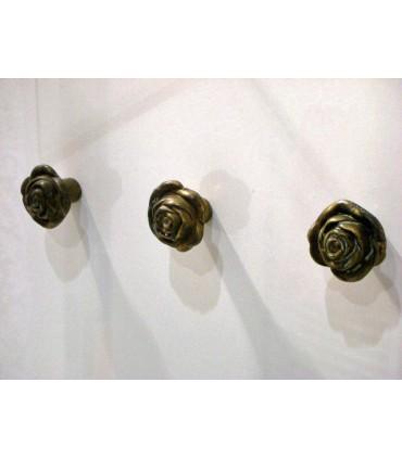 Poignée bouton fixe rose bronze antique