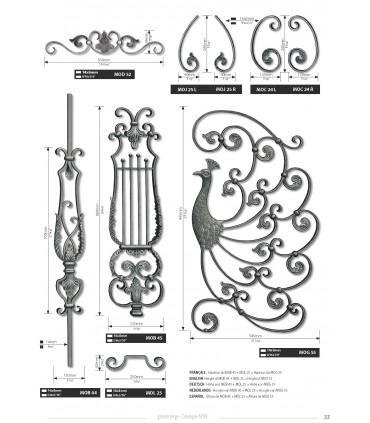 """Elément décoratif """"lyre"""" hauteur 880 mm"""