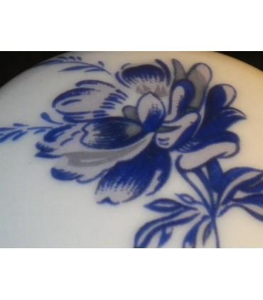 Poignée bouton porcelaine décor bleu