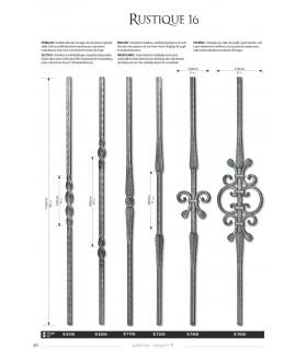 Balustre avec élément décoratif double feuille et volute