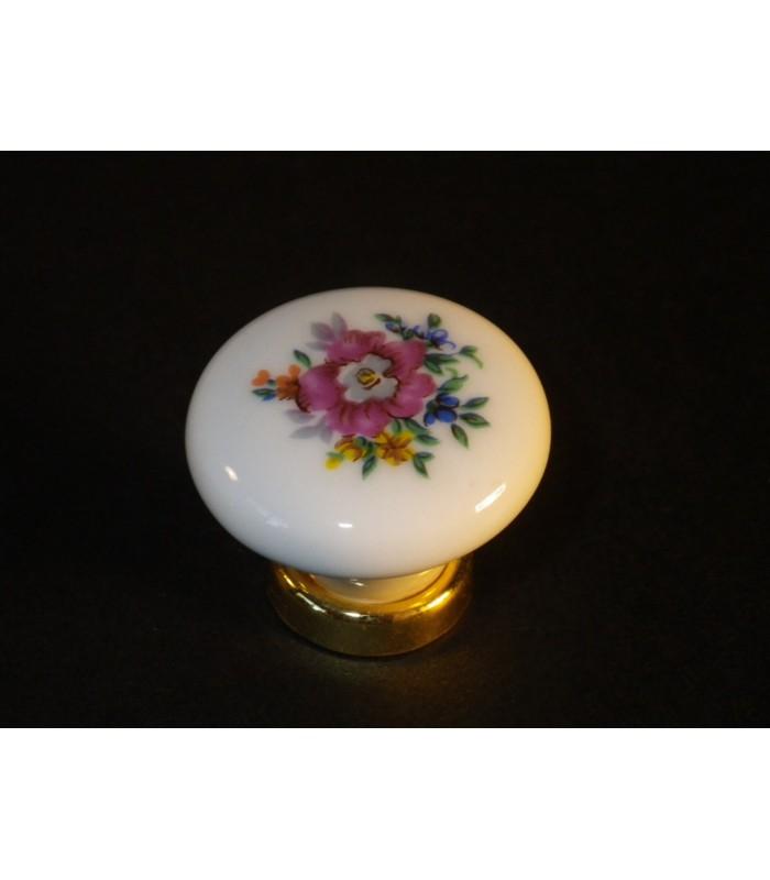 Poignée bouton porcelaine décor fleur