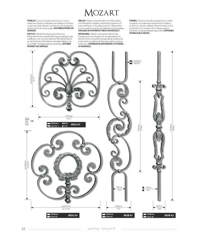 Balustre avec élément décoratif double feuille d'acanthe