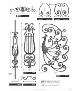 Balustre avec élément décoratif simple feuille d'acanthe