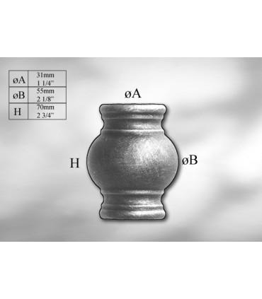 Manchon décoratif en acier tournés hauteur 70 mm