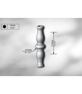 Manchon décoratif en acier tournés hauteur 135 mm
