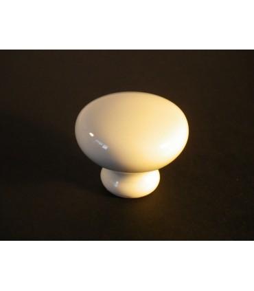 Bouton rond en porcelaine blanche