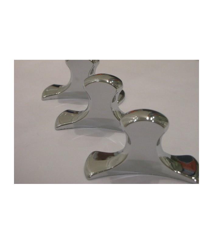 Poignée bouton boomerang chromé brillant