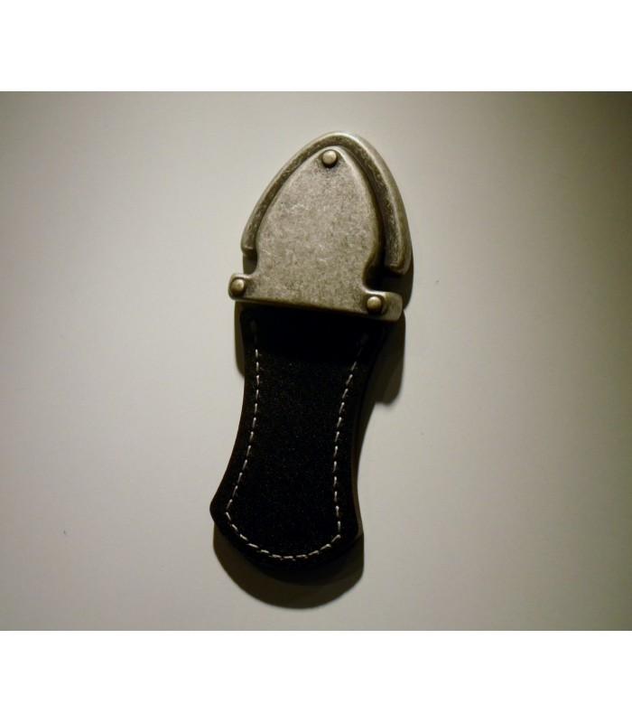 Poignée de meuble tirette en cuir noir