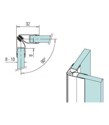 Joint d'étanchéité magnétique 90°