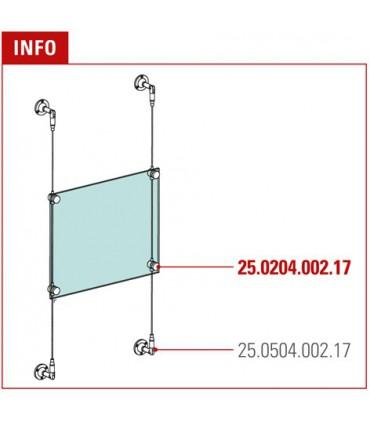 Support vertical pour panneau en verre sur câble