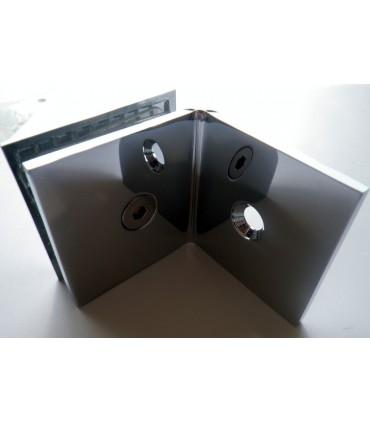 Fixation sur équerre verre sur mur à 90° poli brillant