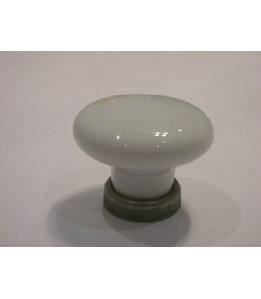 Bouton ovale en porcelaine blanche sur base étain rustique