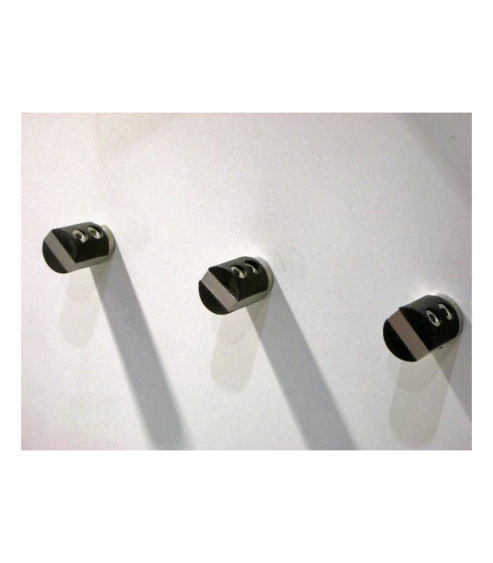 Poignée bouton Soft inox et gomme noir