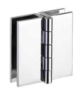 Charnière pour porte de vitrine en verre montage verre sur verre