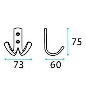 Patère inox deux crochets 2D série