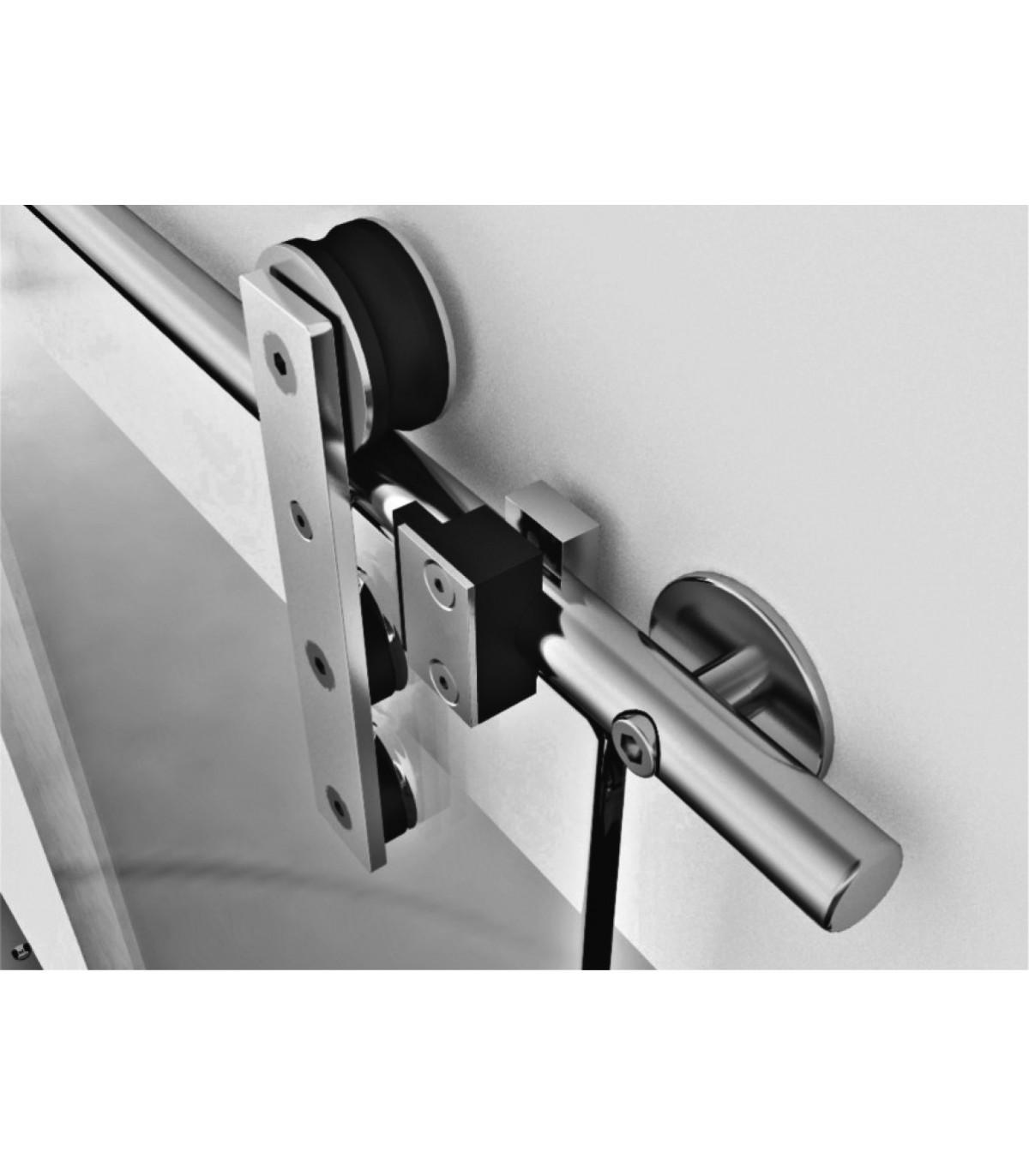 Barre Pour Porte Coulissante kit ten square pour porte coulissante en verre - kit roller
