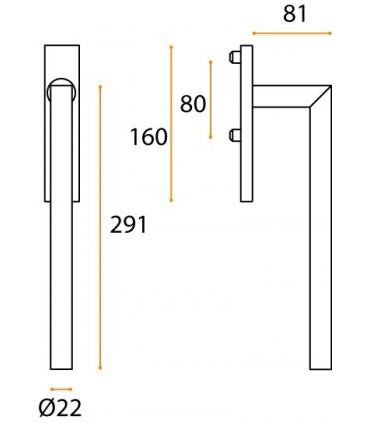 Poignée double de manœuvre dirigent carrée technique