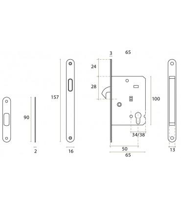 Serrure de porte coulissante en bois ouverture avec cylindre européen ou béquille