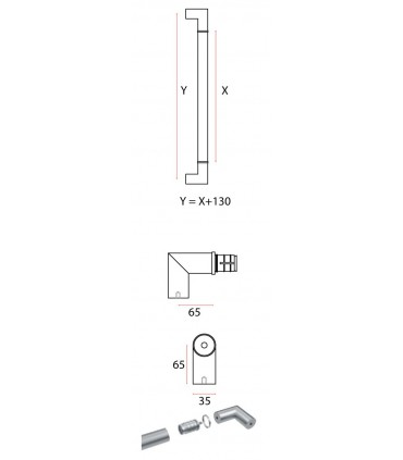 Poignée modulaire série Easy round angulaire 90° technique