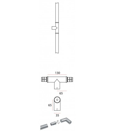 Poignée modulaire série Easy round intermédiaire en T technique