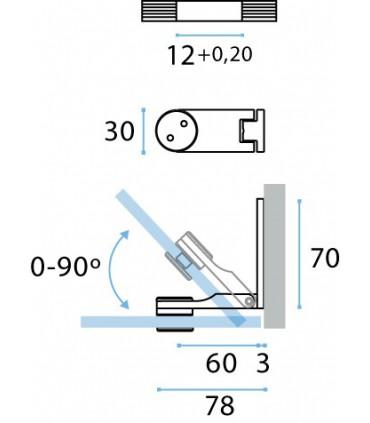 Charnière inox verre / verre