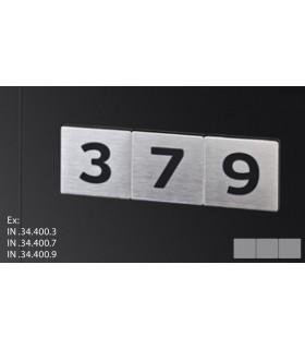 Chiffre noir sur plaque inox de 75 mm