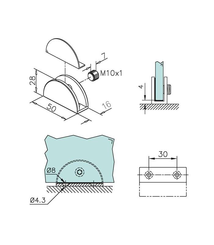 Support demi rond pour verre ép.6 à 8 mm