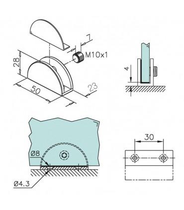 Support demi rond pour verre ép.10 à 15 mm