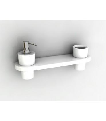 Etagère avec pot et distributeur de savon fixation murale série Button