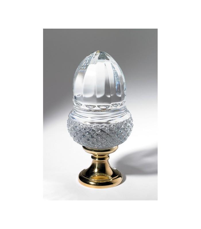 Boule départ de rampe d'escalier en cristal plein forme Gland diamant biseau