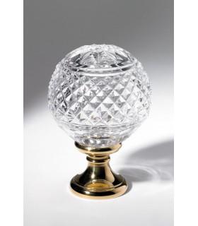 Boule départ de rampe d'escalier Couronne et diamants en cristal soufflé