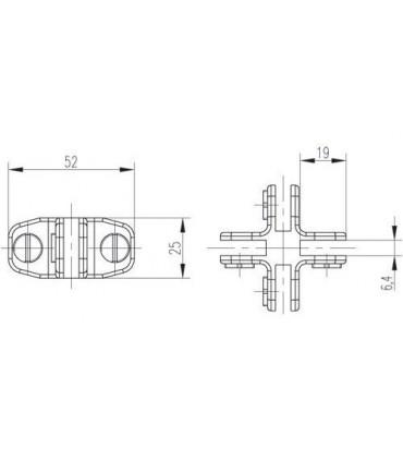 Connecteur quatre volumes de verre à 90° et 180°
