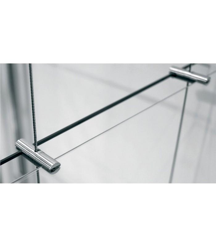 Support double pivotant en inox pour étagère en verre