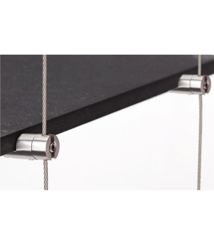 Support simple pivotant en inox pour étagère en bois