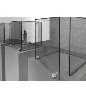 Charnière pour porte de vitrine en verre fixation par collage UV