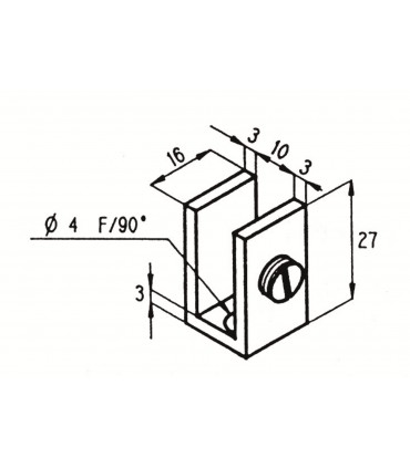 Pince fixe pour vitrine en verre d'épaisseur 6 à 8 mm