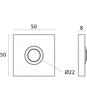 Bouton de sonnette carré en inox brossé