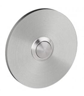 Bouton de sonnette rond 70 mm en inox brossé