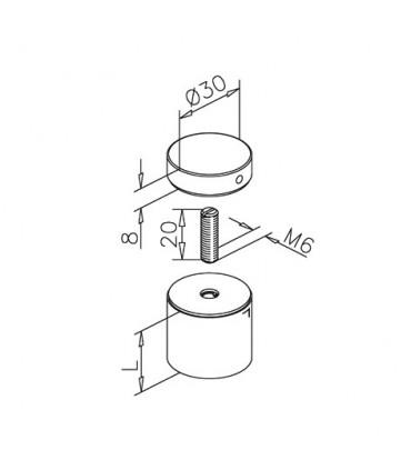 Entretoise de comptoir avec cabochon plat en inox brossé Ø 30 mm