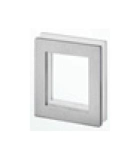 Poignée inox carré 90 mm à coller sur porte coulissante en verre