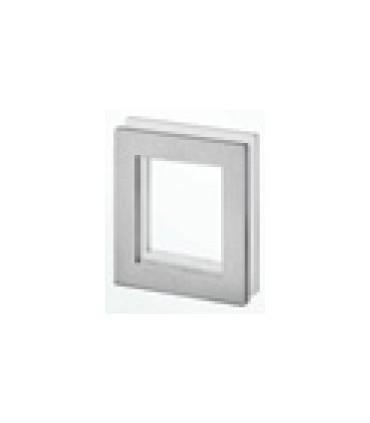 Poignée inox 90 mm à coller sur porte coulissante en verre