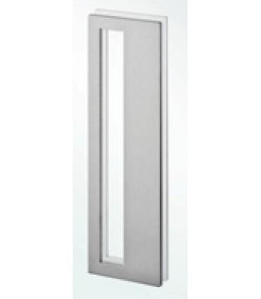 Poignée inox rectangle 300 mm à coller sur porte coulissante en verre