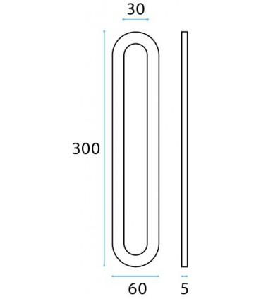 Poignée inox 300 mm à coller sur porte coulissante en verre