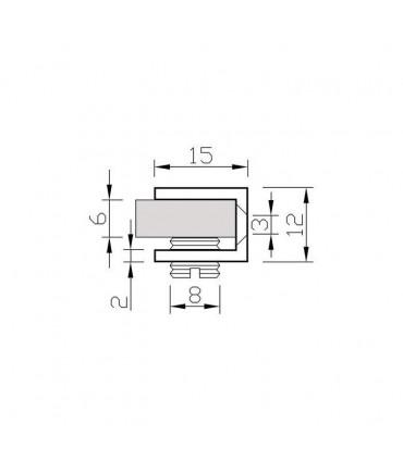 Pince fixe pour vitrine en verre d'épaisseur 4 à 6 mm